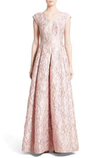 Talbut Runhof Poppy Cloque Cap Sleeve Gown