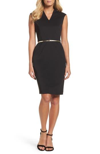 Ellen Tracy Belted Scuba Sheath Dress, Black