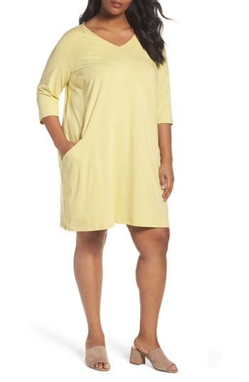 Plus Size Eileen Fisher Organic Cotton Jersey Shift Dress