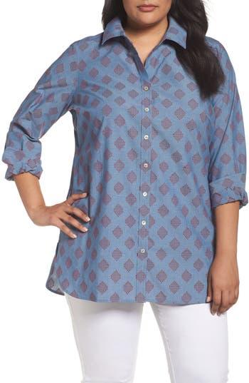 Plus Size Foxcroft Jade Diamond Clip Dot Jacquard Shirt, Blue