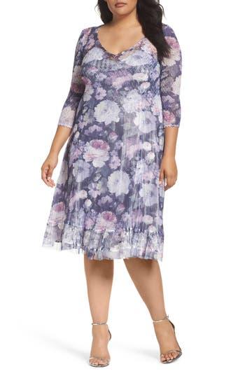 Plus Size Komarov Mixed Media A-Line Dress, Purple
