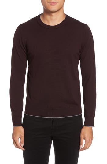 Eleventy Virgin Wool Crewneck Sweater, Burgundy