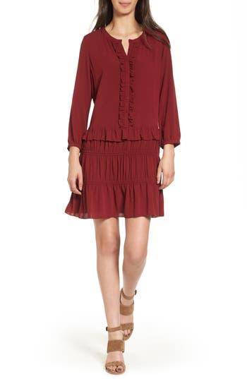 Women's Hinge Ruffle Shift Dress, Size X-Large - Red