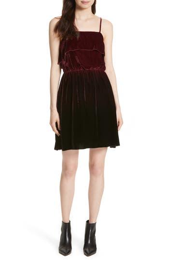 Alice + Olivia Ruffle Bodice Velvet Dress, Burgundy