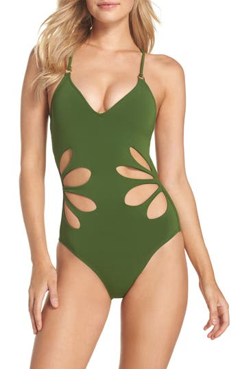 Robin Piccone Ava One-Piece Swimsuit, Green