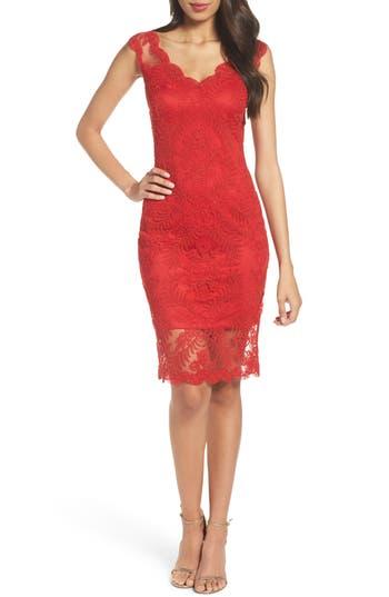 Tadashi Shoji Corded Tulle Sheath Dress, Red