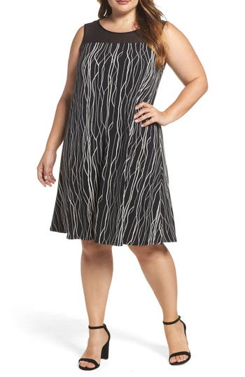 Plus Size Vince Camuto Electric Lines Sheer Yoke Shift Dress, Black