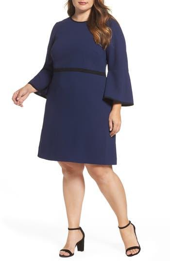 Plus Size Eliza J Bell Sleeve Fit & Flare Dress, Blue