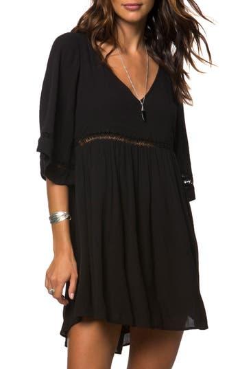 Women's O'Neill Jessika Lace Trim Gauze Dress, Size X-Small - Black