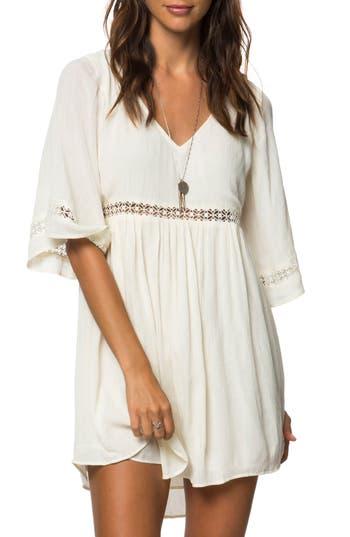 Women's O'Neill Jessika Lace Trim Gauze Dress, Size Medium - White