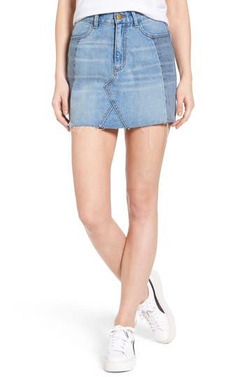 Evidnt Patchwork Denim Miniskirt, Blue