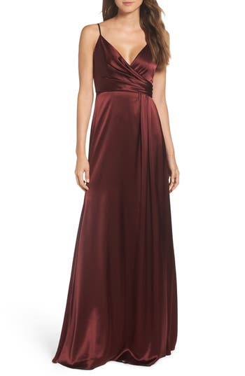 Jill Jill Stuart Faux Wrap Satin Gown, Purple