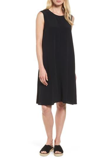 Eileen Fisher Tencel Blend A-Line Shift Dress, Black