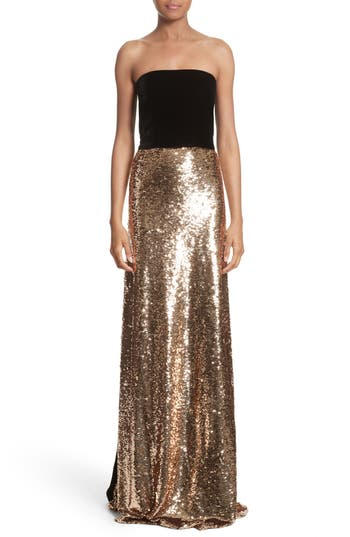 Monique Lhuillier Strapless Velvet & Sequin Gown, Metallic