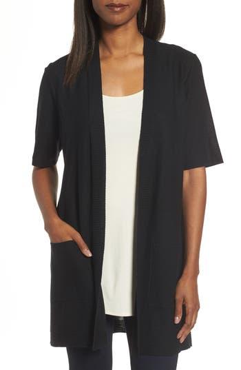 Eileen Fisher Simple Tencel & Merino Wool Cardigan, Black