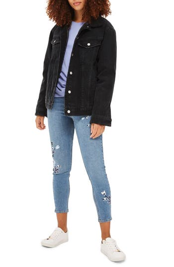 Women's Topshop Faux Shearling Trim Denim Jacket, Size 4 US (fits like 0-2) - Black