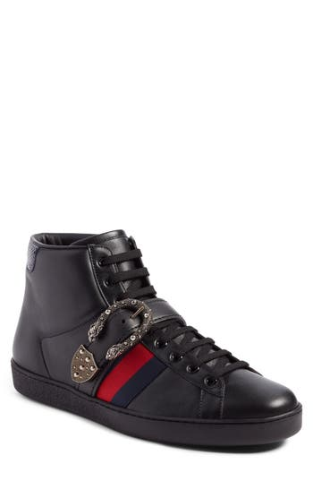 Men's Gucci New Ace Dionysus Buckle High Top Sneaker