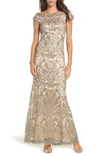 Tadashi Shoji Off The Shoulder Corded Tulle Gown, Beige