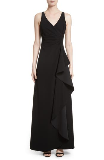Armani Collezioni Starburst Pleat Tech Cady Gown, Black
