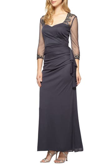 Alex Evenings Embellished A-Line Gown, Grey