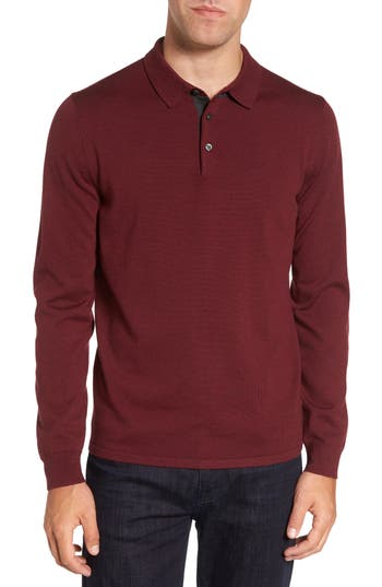 Nordstrom Shop Merino Wool Polo Sweater, Burgundy