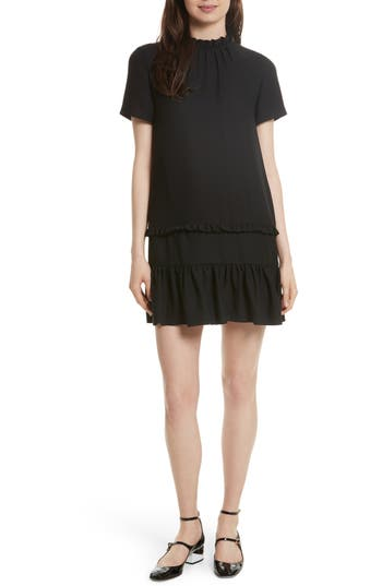 Women's Kate Spade New York Ruffle Shift Dress, Size Small - Black