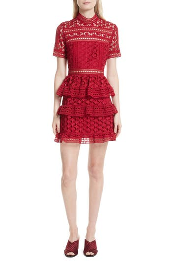 Self-Portrait Ruffle Star Lace Dress, Red