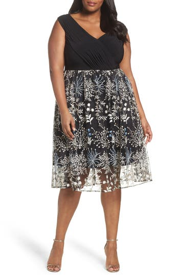 Plus Size Women's Adrianna Papell Embroidered Overlay Fit & Flare Dress