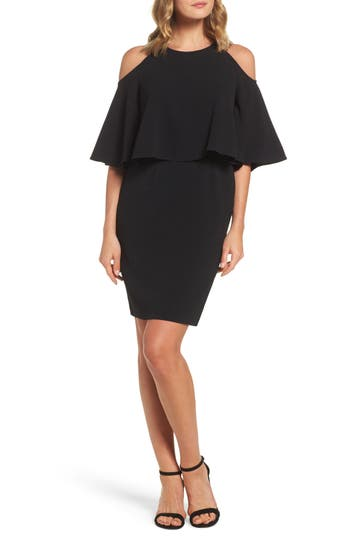 Adrianna Papell Cold Shoulder Dress, Black