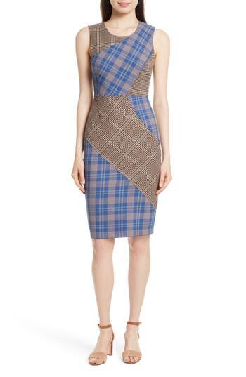 Tracy Reese Patchwork Plaid Sheath Dress, Blue