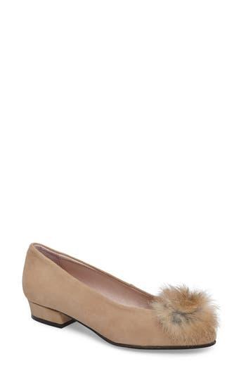 Patricia Green Sandy Flat With Genuine Rabbit Fur Pom, Brown