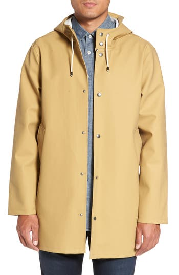 Men's Stutterheim Stockholm Waterproof Hooded Raincoat, Size Small - Beige