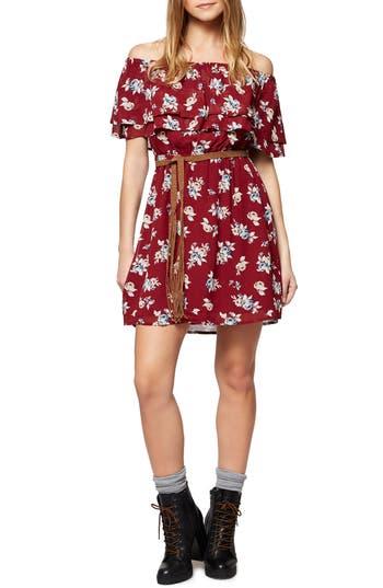 Sanctuary Skylar Off The Shoulder Floral Dress, Red