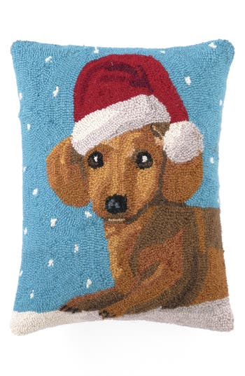 Peking Handicraft Christmas Dachshund Hooked Accent Pillow, Size One Size - Blue