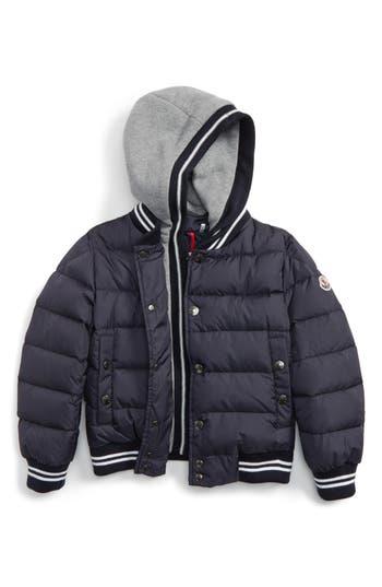Boy's Moncler Auberie Hooded Water Resistant Down Varsity Jacket