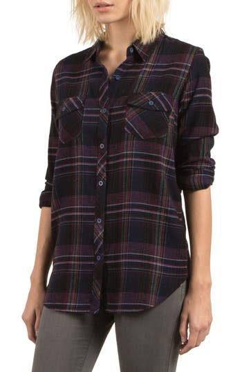Volcom Desert Fly Plaid Top, Black