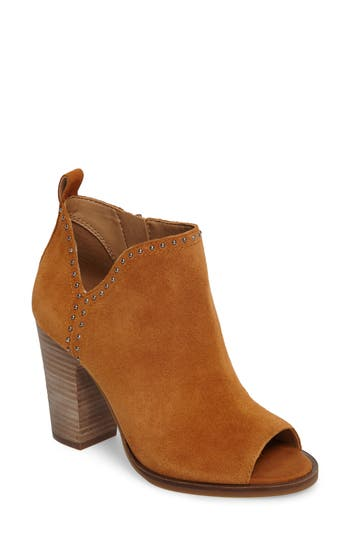 Lucky Brand Lotisha Studded Open Toe Bootie, Brown