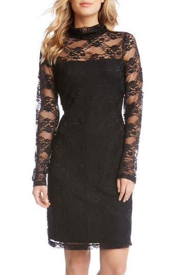 Karen Kane Turtleneck Lace Sheath Dress, Black