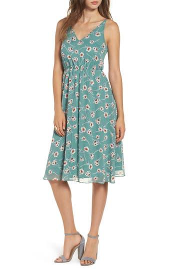 Soprano Floral Blouson Midi Dress, Green