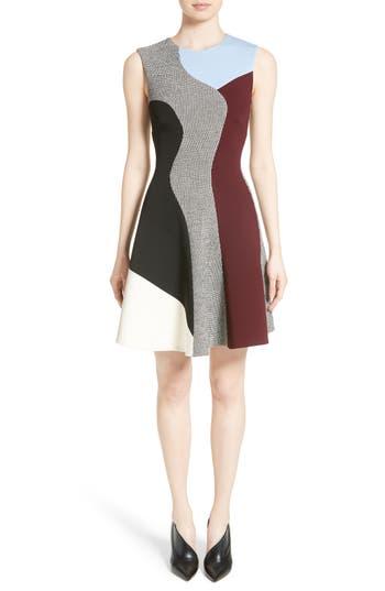Victoria Beckham Houndstooth Panel Flared Dress, US / 8 UK - Black