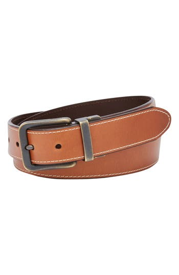 Fossil Fitz Reversible Leather Belt, Dark Brown