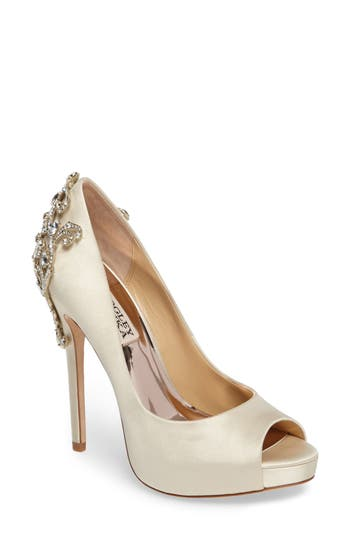 Badgley Mischka Karolina Embellished Peep Toe Pump- Ivory
