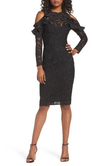 Cooper St Ruffle Lace Sheath Dress, Black