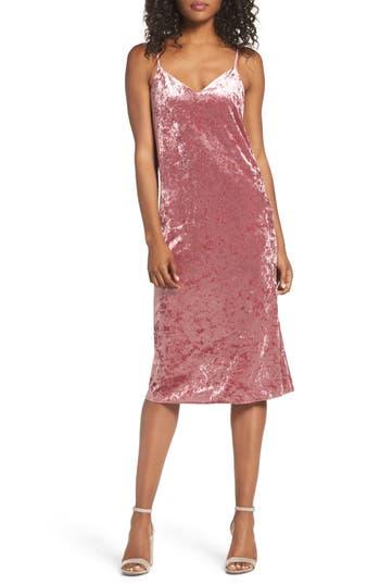 Women's Nsr Velvet Midi Slipdress, Size Small - Pink