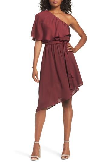 Charles Henry One-Shoulder Asymmetrical Dress, Burgundy