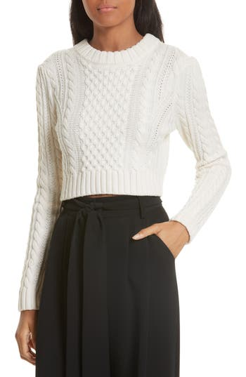 Women's Milly Cropped Aran Stitch Sweater, Size Petite - White