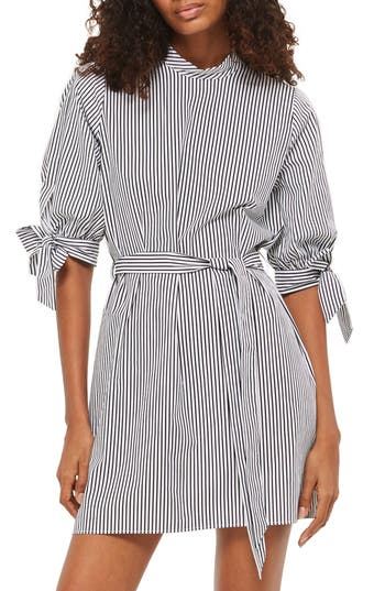 Topshop Stripe Belted Poplin Shift Dress, US (fits like 0) - Black