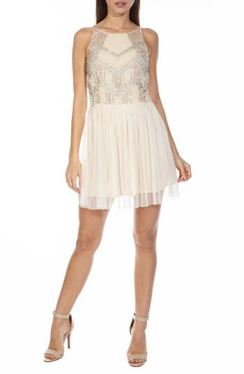 Lace & Beads Peach Embellished Skater Dress