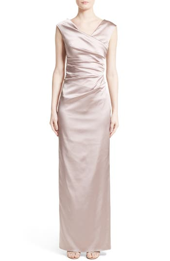 Talbot Runhof Stretch Satin Column Gown, Pink