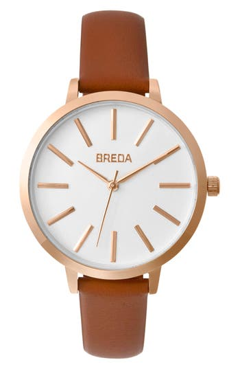 Breda Joule Round Leather Strap Watch, 37Mm